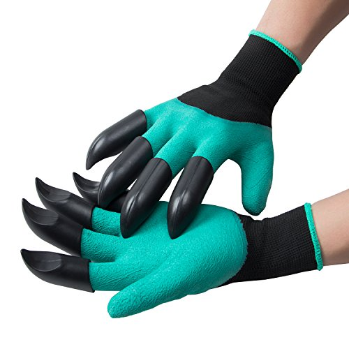 ANPHSIN Handed Garden Genie Gloves with Claws on Both Hands for Digging and Planting As Seen On TV (1 pair), Green