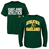 MLB Youth Boys 8-20 Oakland A's 2Piece Long & Short sleeve Tee Set, M(10-12), Assorted