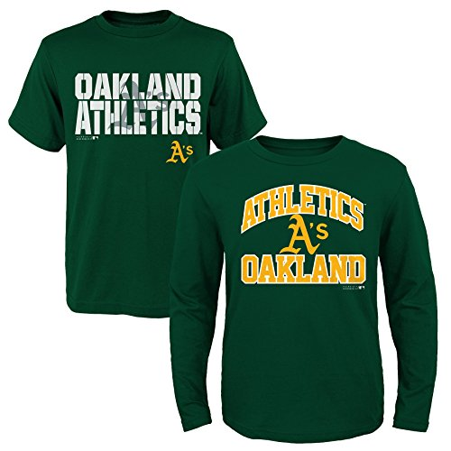 MLB  Youth Boys 8-20 Oakland A's 2Piece Long & Short sleeve Tee Set, S(eight), Assorted – DiZiSports Store