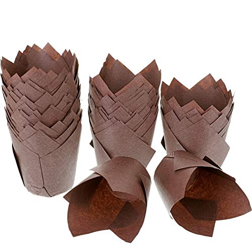 Hestya 150 Pieces Tulip Muffin Baking Cups Cupcake Muffin Liners Baking Cup Holder (Brown) by Hestya