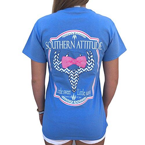 Attitude Graphic Tee - Southern Attitude Sassy Chevron Deer Bow Tie Shirt (2X-Large) Carolina Blue