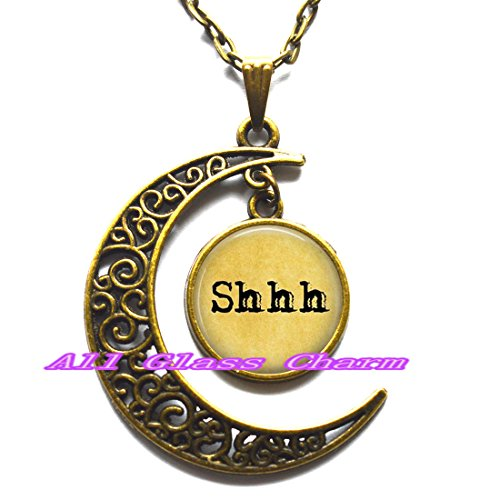 Delicate Crescent Moon Necklace,Shhh - Library Jewelry - Teacher Jewelry - Gift for Librarian - Gift for Teacher - Hush - Shhh Pendant (Halloween Hangover Funny)