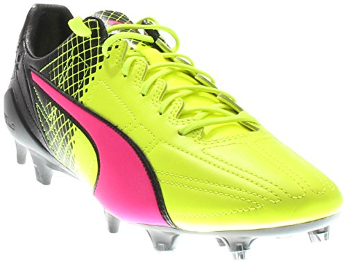 view discount finishline PUMA Mens Evospeed SL II Leather Tricks FG Firm Ground Soccer Cleats Pink Glo-Safety Yellow-Black very cheap online outlet cheap prices j72GLQR
