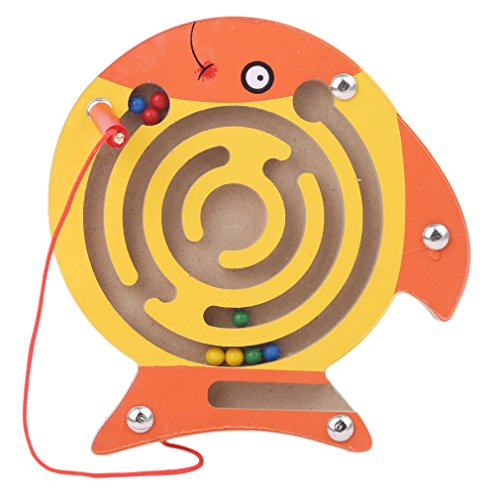 Magnetic Maze - Meolin Children Magnetic Maze Puzzle Educational Wooden Maze Racing Game Toy Mini Wooden Animal Shape Board Maze ,Fish,5.515.310.47inch