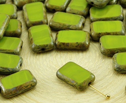 Olive Green Glass Beads - 8pcs Picasso Brown Opaque Olive Olivine Green Table Cut Flat Rectangle Czech Glass Beads 8mm x 12mm