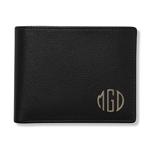 Engraved Men's Black Leather Bi-fold Wallet Personalized Free Monogrammed Customized Free