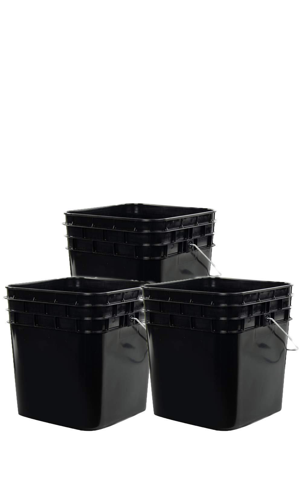 3.3 Gallon Square Plastic Black Bucket with Black Plastic Lid | 3 Pack