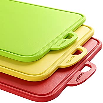Zanmini Kitchen Cutting Board Sets of 3 Piece, Dishwasher Safe with Support Stand and Handing Hole Boards - BPA Free FDA Approved & Eco Friendly