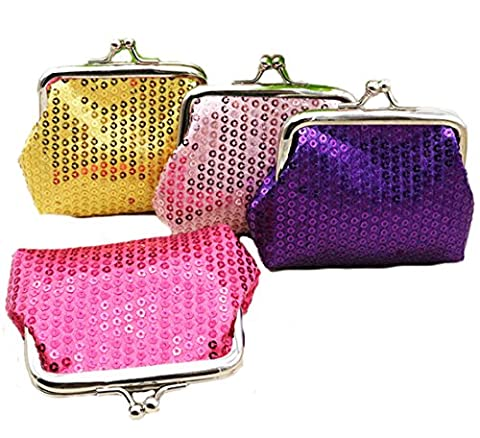 iSuperb Coin Pouch Purse 4 Packs Cute Canvas Gift Jewelry Trinkets Pouch Clasp Closure Wallet Assorted Colors (4 PCS Sequins Coin Pouch - Pouch Gift Set