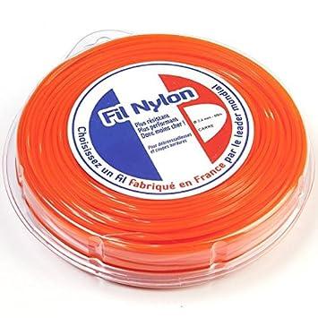 Hilo Desbrozadora Nylon 2,4 mm x 69 M. Cuadrado. Naranja ...