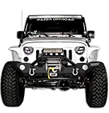 Razer Auto 07-16 Jeep Wrangler JK Black Textured Rock Crawler Front Bumper with OE Fog Light Hole, 2x D-Ring and Built-In Winch Mount Plate