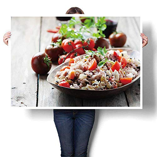 SCOCICI1588 Modern Art Picture Colorful Canvas Print Traditional Italian Rice Salad with Tuna and Vegetables Selective Focus Canvas,16