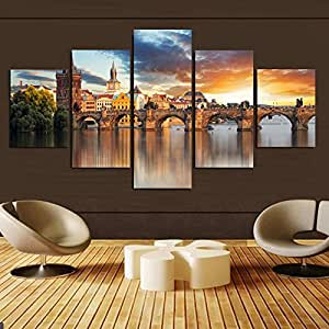 5 Piece Home Decor Beautiful Castle Printed On Canvas Oil Painting Wall Art  Picture For Living