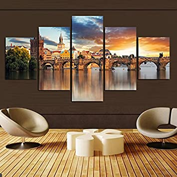 Amazon.com: 5 Piece Home Decor Beautiful Castle Printed on Canvas ...