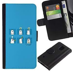 LECELL--Cuero de la tarjeta la carpeta del tirón Smartphone Slots Protección Holder For Samsung Galaxy S5 V SM-G900 -- Oso de bebida --