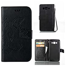 CUSKING Galaxy Core Prime Case, Wallet Leather Flip Case Silicone Case Embossed Butterfly Pattern Design Lifeproof Cover Case with Magetic Closure and Card Holder for Samsung Galaxy Core Prime - Black