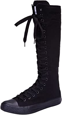 Amazon Com Anufer Girls Women Fashion Knee High Lace Up Canvas Boots Pure White Black Zip Dance Boots Shoes