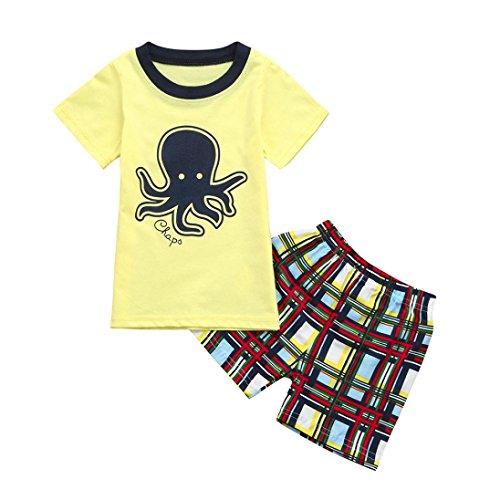 - Winsummer Cotton Baby Boys 2pcs Summer Clothes Dinosaur Print Short Sleeve T-Shirt and Plaid Shorts Set Pjs (Multicolor, 3T)