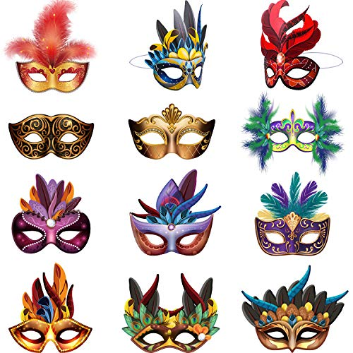 Mardi Gras Masks Paper Masks, Carnival Parade Faux Feather Face Masks Masquerade Party New Orleans Novelty Masks Fantasy for Boy Girls Costume Party Favors