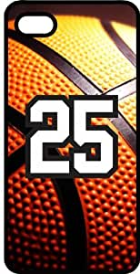 Basketball Sports Fan Player Number 25 Black Rubber Decorative iPhone 4/4s Case by mcsharks