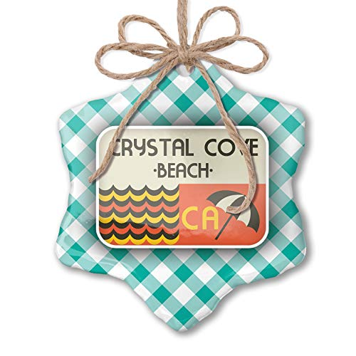 NEONBLOND Christmas Ornament US Beaches Retro Crystal Cove Beach Pastel Mint Green Plaid