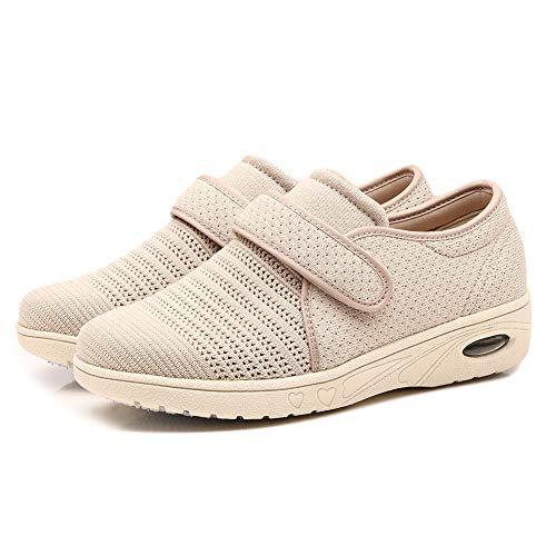 (CHUANGLI Women Edema Shoes Breathable Air Cushion Sneakers Adjustable Elderly Walking Shoes for Diabetic Arthritis Swollen Feet Beige)