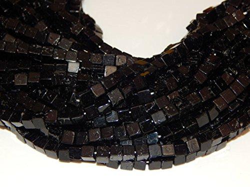 JP_BEADS Black Tourmaline 3D Cube Shape Beads 4x5 mm 16