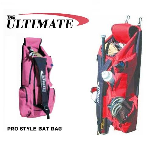 Pink Softball Pro Style 5 Bat Equipment 13 Pockets Gear Bag (Large 36x12x10, Fence Hooks, Lightweight/Durable 300D ()