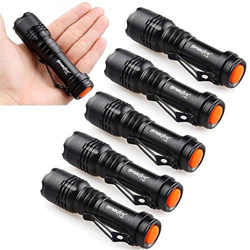 6PC/Pack Mini Q5 7W LED Flashlight Torch Lamp Adjustable Focus Zoom Light 1200 Lumen Ultra Bright Flashlight
