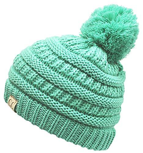 (H-6847-62 Girls Winter Hat Warm Knit Slouchy Toddler Kids Pom Beanie - Seafoam)