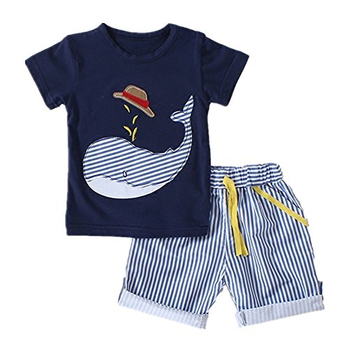 [LittleSpring Little Boys' Shorts Set Summer Animal Size 3T Navy] (Animal Outfits For Toddlers)