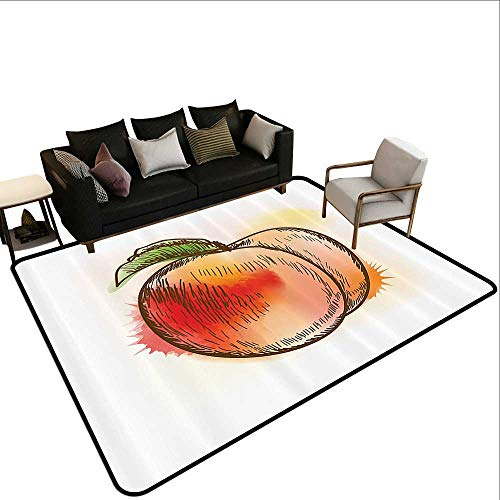 (Large Area Rug Peach Fresh Fruit Full of Vitamins and Nutrition Food Sketch Color Splatters Super Absorbs Mud5'10 x6'10)