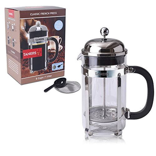 TANERS French Press 8 cup/34oz Coffee, Espresso & Tea Maker,Stainless Steel Coffee Press Filter ...