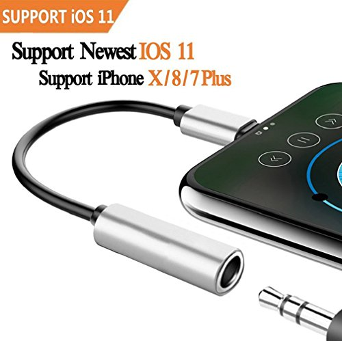 Price comparison product image Adapter Headphone Jack for iPhone 8 / 8Plus / 7 / 7Plus. 3.5mm Jack Headphone Connector Cable For iPhone 7 / 7Plus.Earphone Jack Adapter for iPhone 7 / 8 .Support iOS 10.33&iOS11or Late …