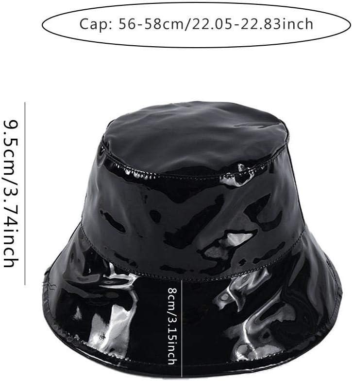 Schwarzer Fashion Hipster Street-Hut Lackleder-Fischerhut Gr/ö/ße 56-58 cm Wasserdichter Freizeithut Von Wild Couple Models