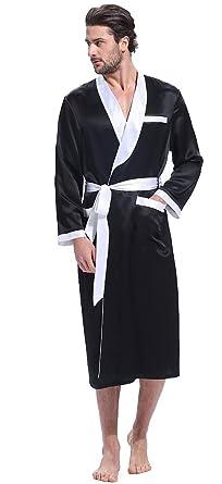 953e149c0b LilySilk Pure Long Silk Robe Men s 22 Momme Shawl Collar Contrast Color 100  Raw Silk Dressing