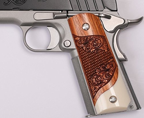 1911 Full Size Grips Solid Rosewood Diamond Cut, Scroll Engraved, Ambi Safety Cut, Dan Eagle Grips