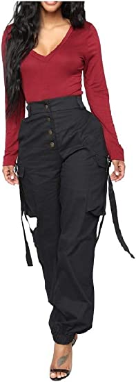 EnergyWD Women's Long Pants Over Waist Oversized Leisure Pocket Harem Pants