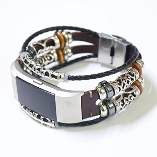 Bracelet For Fitbit Charge 2 Replacement Leather Wristband Bands Band Strap (Wine) by WEIJIJ (Image #5)