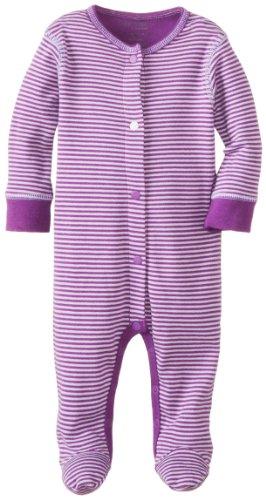 Kushies Baby-Girls Newborn Sleeper, Purple Stripe, 9 Months