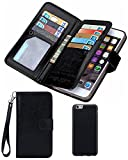 iPhone 5S/SE Wallet Case, HYSJY Magnetic Detachable PU Leather Wallet Purse For Women Men with Strap , Credit card Slots, Card Holer,Flip Slim Cover Case Fit iPhone 5/5S/SE (CARD-Black)