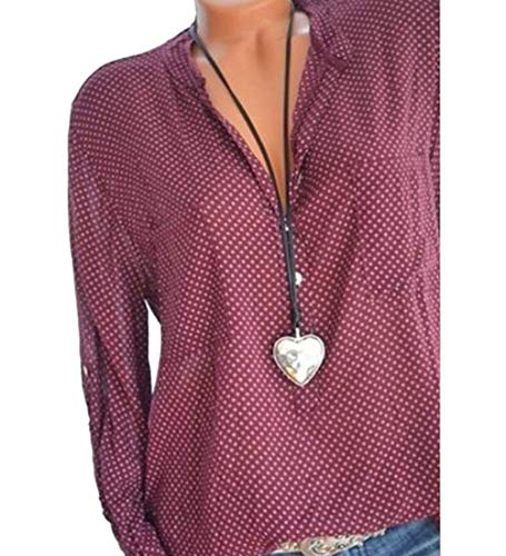 Et Col Tops Chemise Grande Mode Blouse Chic Lache Classique V Button Femme Rouge Longue Hauts Minetom Chemisier Manche Casual Taille wPqFXgCx