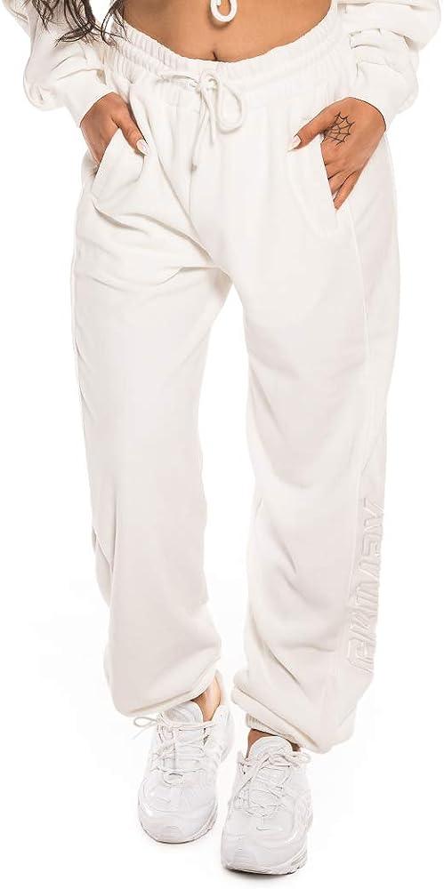GRIMEY PANTALÓN Hazy Sun Velour Sweatpant FW18 White-L: Amazon.es ...