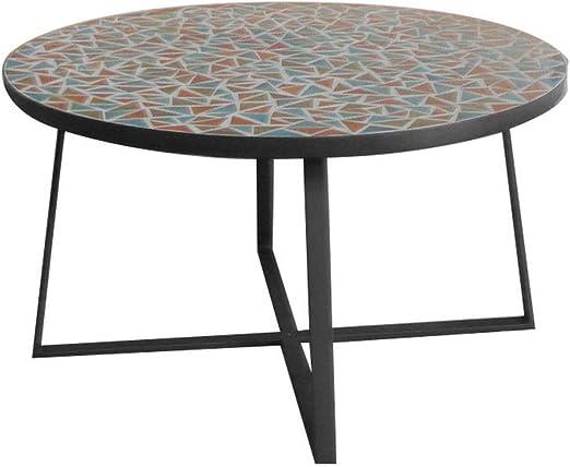 Mesa de Centro Mosaico para Exterior de cerámica y Hierro Multicolor de ø 80x44 cm - LOLAhome: Amazon.es: Jardín