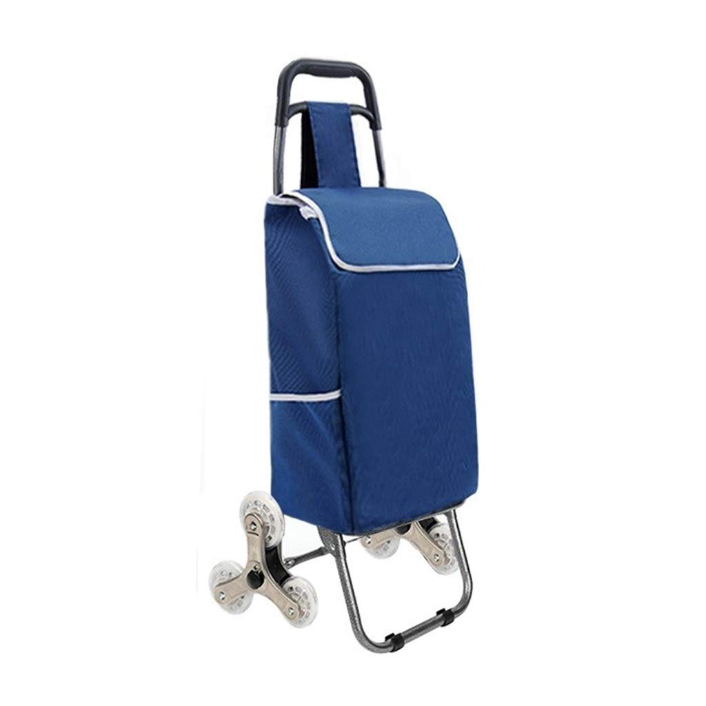 Lxrzls Old People Shopping Trolley - Portable Small Cart - Foldable Luggage Grocery Cart - Multi-Functional - Six Rounds - Blue
