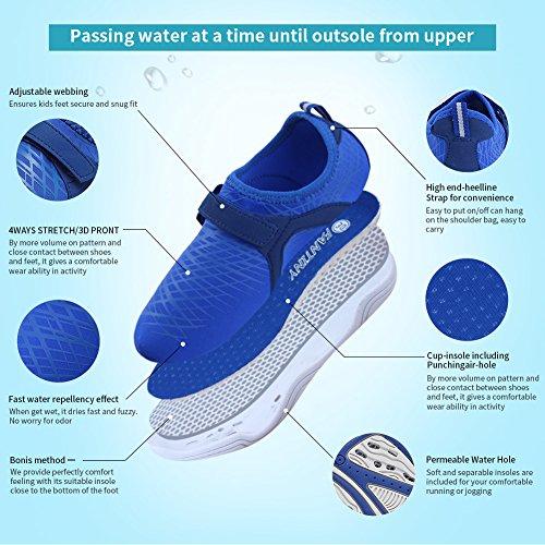 Fantiny Boys & Girls Water Shoes Lightweight Comfort Sole Easy Walking Athletic Slip on Aqua Sock(Toddler/Little Kid/Big Kid) DKSX-Black-34 by CIOR (Image #2)