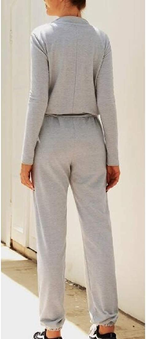 Xswsy XG Womens Long Sleeve Zipper V Neck Drawstring Long Pants Jumpsuit Romper