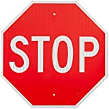SmartSign MUTCD # R1-1 3M Diamond Grade Reflective Aluminum Sign, Legend ''Stop'', 30'' tall octagon, White on Red