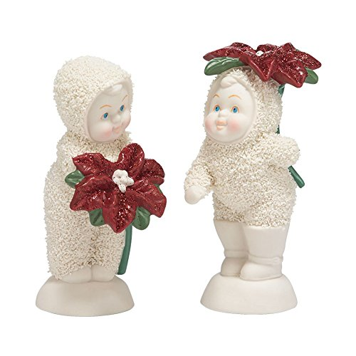 Department 56 Snowbabies Classics Baby Blossoms Figurine, 4 inch (Set of 2) (Bisque Glass True)