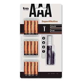 Tm Electron Pack de 12 pilas súper alcalinas AAA/ LR03 1.5 V con linterna de regalo: Amazon.es: Electrónica
